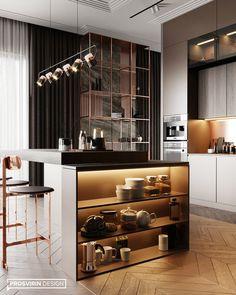 Kitchen-livingroom Goodlife park on Behance Kitchen Room Design, Luxury Kitchen Design, Home Decor Kitchen, Interior Design Living Room, Home Kitchens, Küchen Design, Layout Design, House Design, Design Ideas
