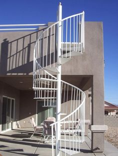 Spiral Staircase: Pros and Cons : White Exterior Spiral Staircase. Interior Staircase, Exterior Stairs, Staircase Design, Stair Design, Stairs Architecture, Spiral Staircase Kits, Outdoor Stair Railing, Spiral Staircases, Open Staircase