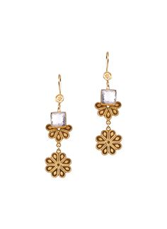 Inspired by tradition yet designed with a contemporary appeal, these dangling earrings from Silvermerc are perfect for the modern woman with a timeless sense of style. Measuring 23 x 84mm, these earrings are crafted from 22 ct gold plated sterling silver and feature square faceted crystal stones for added sparkle.