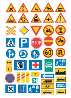 traffic signs from minorpostcards Creative Teaching, Teaching Kids, Transportation Activities, Lucas Arts, Early Childhood Education, Science And Nature, Signs, School Projects, Preschool Activities