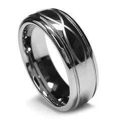 Top Value Jewelry - Men Tungsten Wedding Band, His Tungsten Carbide Ring, Infinity Lucky Ring in Chrome Color, Men 8MM (size 8-15) - Half Sizes Available