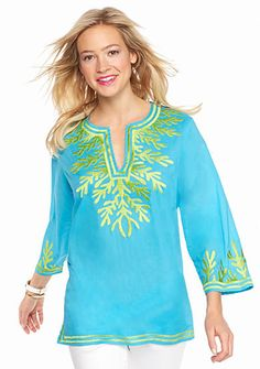 crown & ivy™ beach Embroidered Tunic
