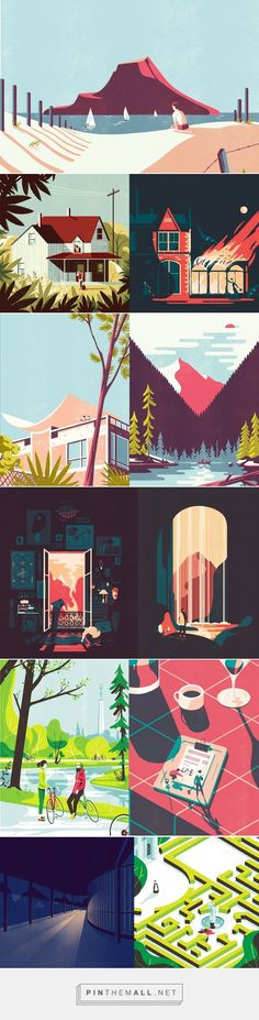 Illustration of buildings/sceneries etc. by Tom Haugomat – these pictures almost remind me of comic art, as big areas are coloured with one colour. Art And Illustration, Illustrations And Posters, Graphic Design Illustration, Graphic Art, Website Illustration, Building Illustration, Medical Illustration, Environment Design, Grafik Design
