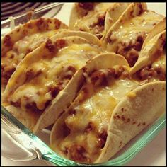 Oven Baked Tacos! Super Easy recipe..i'd change it up a bit to make it even better!