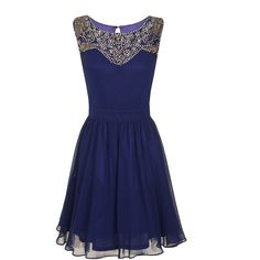 Little Mistress Navy heavily embellished dress ($110) ❤ liked on Polyvore featuring dresses, blue, vestidos, little mistress, navy cocktail dress, little mistress dresses, blue dress and embellished dresses