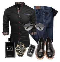 """100%mens"" by alice-fortuna ❤ liked on Polyvore featuring Jimmy Choo, Diesel, Giorgio Armani, Ray-Ban, men's fashion and menswear"