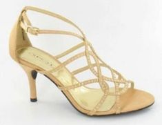 Ladies Gold Satin Diamonte Front Strappy Low Heel Evening Wedding Shoes
