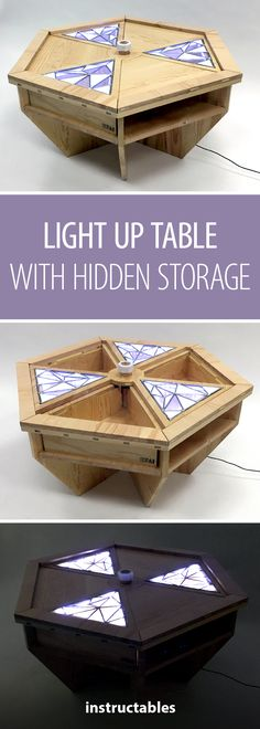 Light up table with hidden storage #furniture #decor