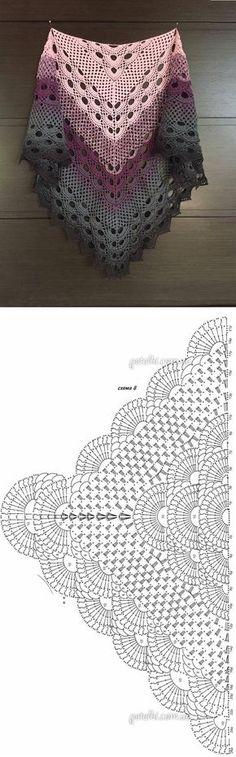 Crochet Beautiful Shawl (Sashay Yarn Schal häkeln 1 Source by . Plaid Au Crochet, Shawl Crochet, Crochet Poncho Patterns, Crochet Shawls And Wraps, Crochet Diagram, Crochet Chart, Love Crochet, Crochet Scarves, Crochet Clothes