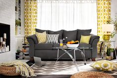 Touches of yellow are the perfect compliment to gray!