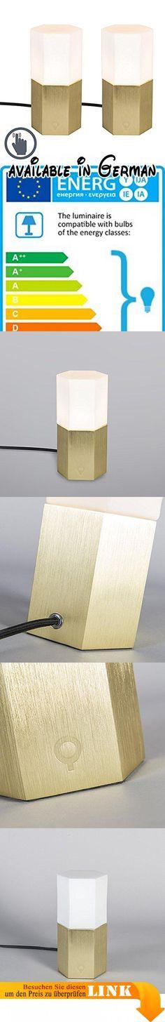 QAZQA Modern 2 Flammiger Set Tischleuchte / Tischlampe / Lampe / Leuchte  Hexagon Gold / Messing Dimmer / Dimmbar / Innenbeleuchtung / Wohnzimmer ...