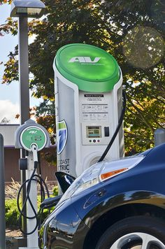 AeroVironment DC fast charger on the West Coast Electric Highway |  Black Nissan LEAF gets a quick charge using this AeroVironment equipment at the Shell Station in Tumwater, Washington.
