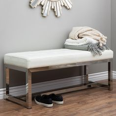 Liberty Modern White Leather Bench | Overstock.com Shopping - The Best Deals on Benches