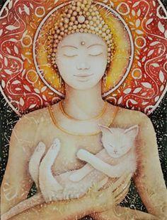 """A lenda budista: """"Para o budismo, os gatos representam a espiritualidade. São seres iluminados que transmitem calma e harmonia e, por isso, costuma-se dizer que quem não se relaciona bem com seu inconsciente nunca chega a se conectar por completo com um gato, nem tampouco entenderá seus mistérios."""""""