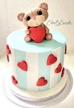 Just a Simple Teddy Bear Cake for Valentine's Day by Cakes By Samantha (Greece) Simple Fondant Cake, Fondant Cake Designs, Fondant Cakes, Teddy Bear Birthday Cake, Teddy Bear Cakes, Fondant Teddy Bear, Simple Birthday Cake Designs, Simple Cake Designs, Cake Decorating Techniques