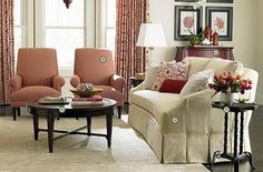 brown+and+peach+furniture | Ivory Colored Double Sofa And Peach Singles