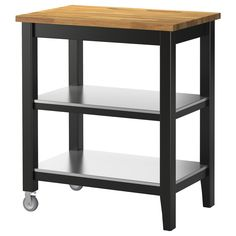 IKEA - STENSTORP, Kitchen cart, Gives you extra storage, utility and work space.Two fixed shelves in stainless steel, a hygienic, strong and durable material that's easy to keep clean.Countertop with a top layer of solid wood, a hardwearing natural material that can be sanded and surface treated when required.Good environmental choice, because the method of using a top layer of solid wood on particleboard is resource-efficient.