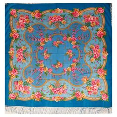 Pelageia Posadskiy Shawl is a large size shawl with silk fringe, it is made of 100% wool at the Pavlovo-Posad shawl factory in Russia