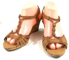 Clarks T-Strap Wedge Heels Solid Brown Leather Sandals Shoes Womens Size 8 M #Clarks #TStrap