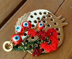 Gold Pomegranate Charm Evil Eye Beaded Tassel Home by cocolocca
