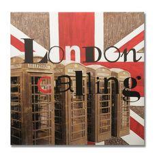 "Graham & Brown Handpainted London Calling Printed Canvas Art - 28"" X 28"""