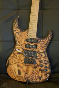Pyrography relic guitar on Behance