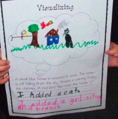 Visualizing activity -start out w/ modeled/interactive writing. write a few sentences on the white board w/ class gathered around. Have them help spell certain words & place punctuation, but teacher comes up w/ sentences. Next have them go back to their seats to draw what they visualize. Can have them do similar pages during literacy centers, where they read independently.