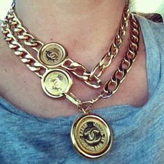 Chanel gold coins necklace