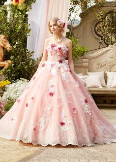 Most Beautiful Dresses, Pretty Dresses, Flower Dresses, Bridal Dresses, Pink Colour Dress, Flower Colour, Pink Dress, Ball Gowns Fantasy, Wedding Dress Patterns