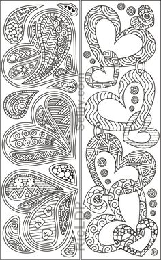 Coloring Bookmarks with Hearts : 8 designs coloring bookmarks with hearts Heart Coloring Pages, Printable Adult Coloring Pages, Cute Coloring Pages, Coloring Pages To Print, Coloring Books, Doodle Patterns, Zentangle Patterns, Zentangles, Paper Bookmarks