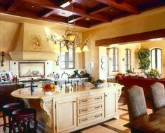 Photo above is beautiful open space Tuscan dining and living room combination that also an Italian and Mediterranean looks.