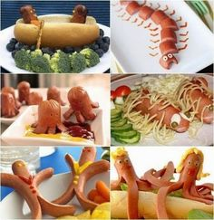Foood Style: Awesome Sausage shape for kids idea Shapes For Kids, C'est Bon, Have Some Fun, Hot Dogs, Carrots, Awesome, Tacos, Lunch, Fruit