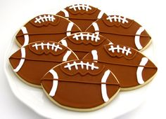 Football Cookies-Personalized Sugar Cookies-Perfect for Football Parties and Banquets-One Dozen Large Footballs on Etsy, $35.00