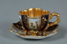 Coalport Porcelain Miniature Cup and Saucer with hand-painted panels. c.1885. Shrewsbury Museums Service (SHYMS: C.2560 & SHYMS: C.2561).