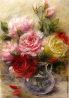 Купить Картина из шерсти Букет из роз - картины из шерсти, живопись шерстью…