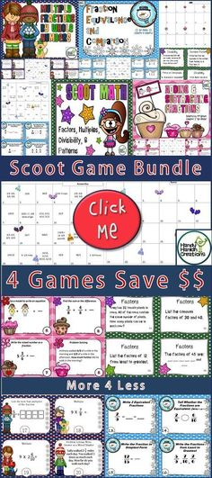 4th Grade Elementary Task Card Scoot Bundle! Go Math Chapters 5-8 inspired.