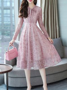 ladycalla can offer Tie Collar Lace Maxi Dress. Simple Dresses, Pretty Dresses, Beautiful Dresses, Casual Dresses, Fashion Dresses, Maxi Dresses, Awesome Dresses, Lace Maxi, Floral Maxi Dress