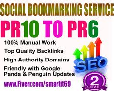 Submit your website or blog or video etc links to 30+  Social Bookmarking Site. Services including Top 30 sites (PR 10 to 6)and trust to your website to help increase its Search engine ranking.1 high PR backlink better then 1000 low PR .so this gig really very helpful for your website.