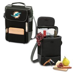 Football Fan Shop Picnic Time Duet Wine and Cheese Tote - Miami Dolphins