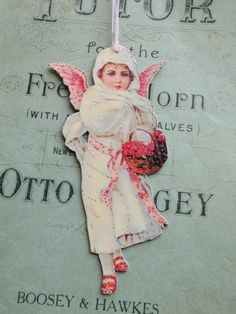 Christmas Angel Ornament OOAK Paper doll by JuliaPeculiar on Etsy
