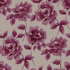 128017 krijtverf vliesbehang aquarel geschilderde rozen aubergine en taupe