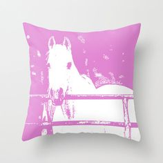 White Horse, Pillow Cover, 16x16, home decoration, rustic, farm, pink, white, Animal Lovers, on Etsy, $33.00