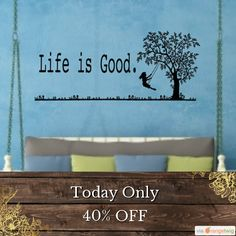Today Only! 40% OFF this item.  Follow us on Pinterest to be the first to see our exciting Daily Deals. Today's Product: Life is Good. Vinyl Wall decal with girl swinging from a tree swing. Inspirational wall art, Love life decal, the small things that count Buy now: https://www.etsy.com/listing/461180818?utm_source=Pinterest&utm_medium=Orangetwig_Marketing&utm_campaign=wed   #followme #style #sale #bossbabe #instasale #momboss #dealoftheday #todayonly #dailydeal #etsy #etsyseller #etsyshop…
