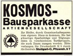 Original-Werbung/ Anzeige 1937 - KOSMOS BAUSPARKASSE  - ca. 140 x 110 mm