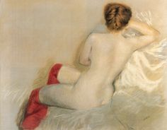 Nude with Red Stockings - Giuseppe de Nittis