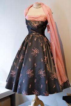 1950's grey taffeta party dress with silk scarf.
