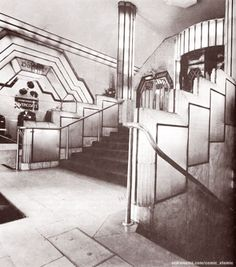The foyer of the Strand Palace Hotel in London, deco design of 1930 by Oliver Bernard.