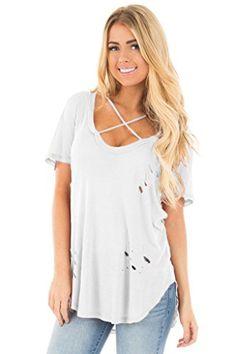 a79b538891e Lovezesent Women's Short Sleeve Cross Front V Neck T Shirt Blouses X-Large  White Price