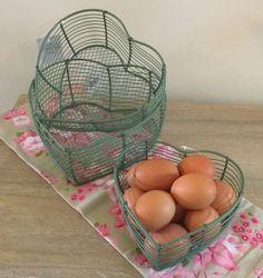 3 Wire Heart Storage Baskets Egg Sage Green Cream Rustic Brown Country Vintage | eBay