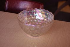 Vintage Mid Century Carnival Iridescent Glass Punch Bowl or Serving Bowl Dish 12""